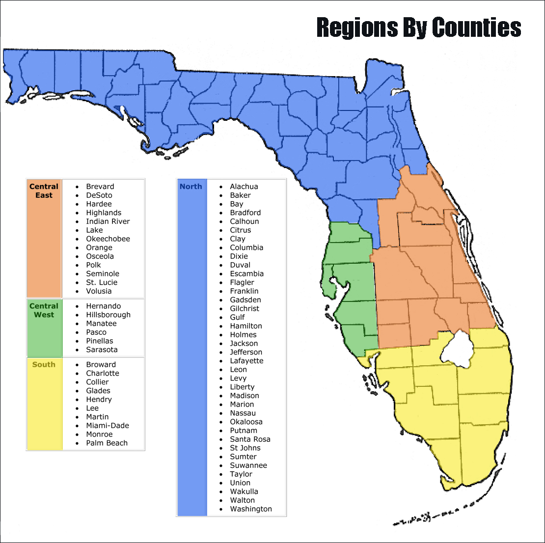 County Map Of Florida.Florida Registry Of Interpreters For The Deaf Elections
